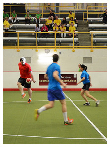 Staff from many departments participating in a fun sports tournament.