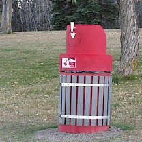 Photo of red garbage can