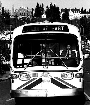 Photo of the front of a St. Albert bus in the 1950s