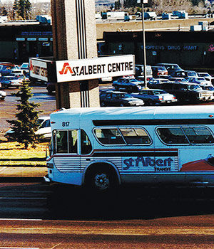 Photo of a St. Albert bus in the 1970s
