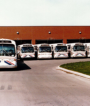Photo of St. Albert buses parked at the bus bard in the 1980s