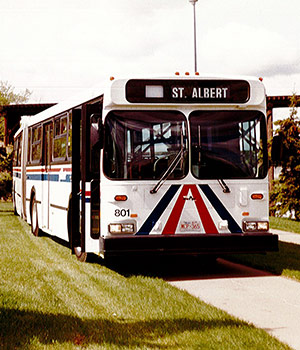 Photo of a St. Albert bus in the 1990s