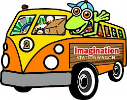 Imagination Stationwagon logo of a lizard in a van full of toys and loose parts