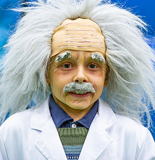 Child dressed up as Albert Einstein